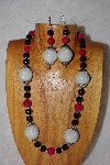"+MBAAC #02-9893  ""Pearl White Cluster Beads, Rose & Black Bead Necklace & Earring Set"""