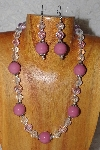 "MBAAC #03-0106  ""One Of A Kind Pink & Clear Glass Bead Necklace & Earring Set"""