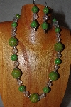 "MBAAC #03-0117  ""One Of A Kind Green & Clear Bead Necklace & Earring Set"""