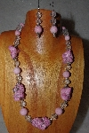"MBAAC #03-0122  ""One Of A Kind Pink & Clear Bead Necklace & Earring Set"""