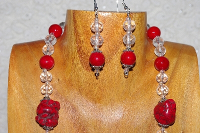 "MBAAC #03-0126  ""One Of A Kind Red & Clear Glass Bead Necklace & Earring Set"""