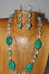 "MBAAC #03-0133 ""One Of A Kind Green & Clear Glass Bead Necklace & Earring Set"""
