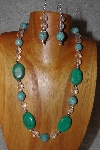 "MBAAC #03-0139  ""One Of A Kind Green,Blue & Clear Glass Bead Necklace & Earring Set"""