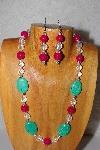 "MBAAC #03-0145  ""One Of A Kind Green,Rose & Clear Glass Bead Necklace & Earring Set"""