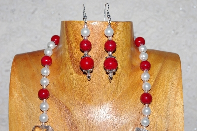 "MBAAC #03-0160  ""One Of A Kind Red,White & Clear Glass Bead Necklace & Earring Set"""