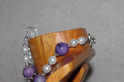 "MBAAC #03-0165   ""One Of A Kind Purple,White & Clear Glass Bead Necklace & Earring Set"""
