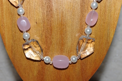 "MBAAC #03-0175  ""One Of A Kind Pink,White & Clear Bead Necklace & Earring Set"""