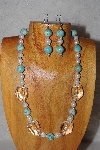 "MBAAC #03-0181  ""One Of A Kind Blue, White & Clear Bead Necklace & Earring Set"""