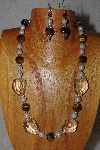 "MBAAC #03-0192  ""One Of A Kind Tiger Eye, White & Clear Glass Bead Necklace & Earring Set"""