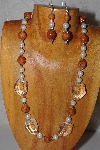 "MBAAC #03-0209  ""One Of A Kind Brown,White & Clear Glass Bead Necklace & Earring Set"""