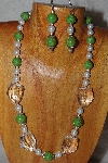 "MBAAC #03-0214  ""One Of A Kind Green,White & Clear Glass Bead Necklace & Earring Set"""