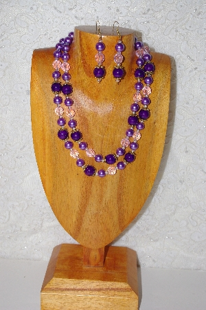 "MBADS #001-0383  ""Purple & Pink  2 Strand Bead Necklace & Earring Set"""