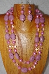 "+MBADS #001-398  ""Pink 2 Strand Bead Necklace & Earring Set"""