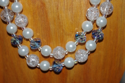 "MBADS #001-576   ""Blue & White 2 Strand Bead Necklace & Earring Set"""