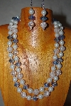 "+MBADS #001-576   ""Blue & White 2 Strand Bead Necklace & Earring Set"""