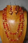 "+MBADS #001-0600  ""Orange 2 Strand Bead Necklace & Earring Set"""