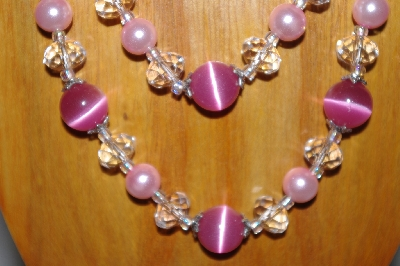 MBADS #001-606  Pink & Clear Bead 2 Strand Necklace & Earring Set""