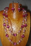 +MBADS #001-606  Pink & Clear Bead 2 Strand Necklace & Earring Set""