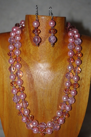 "MBADS #001-0610  ""Pink Bead Two Strand Necklace & Earring Set"""