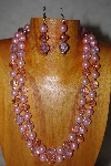 "+MBADS #001-0610  ""Pink Bead Two Strand Necklace & Earring Set"""