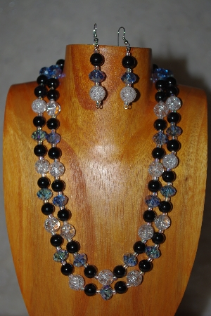 "MBADS #001-615  ""Blue, Clear & Black Bead Two Strand Necklace & Earring Set"""