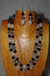 "+MBADS #001-615  ""Blue, Clear & Black Bead Two Strand Necklace & Earring Set"""