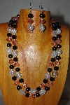 "+MBADS #001-0620  ""Black, Clear & Pink Bead Two Strand Necklace & Earring Set"""