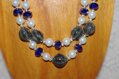 "MBADS #001-549  ""Grey, Blue & White Bead Two Strand Necklace & Earring Set"""