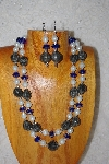 "+MBADS #001-549  ""Grey, Blue & White Bead Two Strand Necklace & Earring Set"""