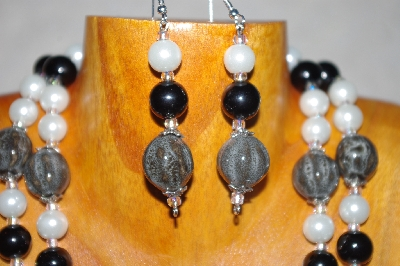 "MBADS #001-566  ""Grey,Black & White Two Strand Bead Necklace & Earring Set"""