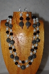 "+MBADS #001-566  ""Grey,Black & White Two Strand Bead Necklace & Earring Set"""
