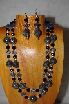 "+MBADS #001-570  ""Grey,Black & Blue Bead 2 Strand Necklace & Earring Set"""