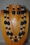 "+MBADS #001-585  ""Black & White bead Tow Strand Necklace & Earring Set"""