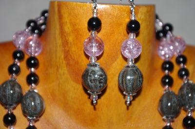 "MBADS #001-595 ""Grey, Black & Pink Bead Two Strand Necklace & Earring Set"""