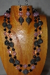 "+MBADS #001-595 ""Grey, Black & Pink Bead Two Strand Necklace & Earring Set"""