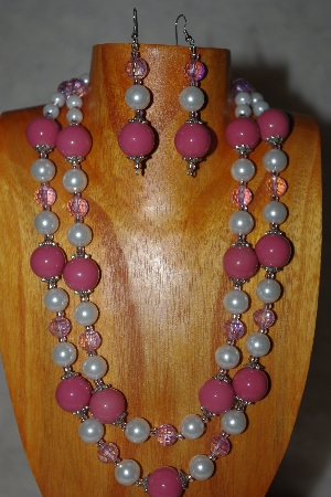 "MBADS #001-625  ""Pink & White Bead Two Strand Necklace & Earring Set"""