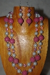 "+MBADS #001-625  ""Pink & White Bead Two Strand Necklace & Earring Set"""