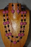 "+MBADS #001-630  ""Pink & Black Bead Two Strand Necklace & Earring Set"""