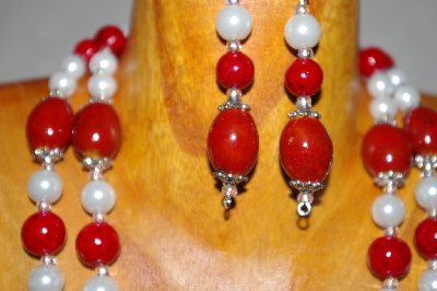 "MBADS #001-635  ""Red & White Bead Double Strand Necklace & Earring Set"""