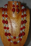 "+MBADS #001-635  ""Red & White Bead Double Strand Necklace & Earring Set"""