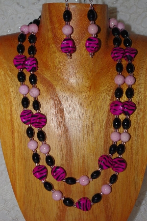 "MBADS #001-405  ""Pink & Black Bead Double Strand Necklace & Earring Set"""