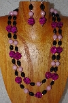 "+MBADS #001-405  ""Pink & Black Bead Double Strand Necklace & Earring Set"""
