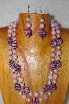 "+MBADS #001-410  ""Pink & White Bead Double Strand Necklace & Earring Set"""