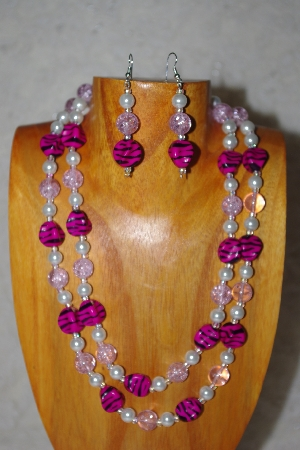 "MBADS #001-554  ""Pink & White Bead Double Strand Necklace & Earring Set"""