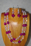 "+MBADS #001-554  ""Pink & White Bead Double Strand Necklace & Earring Set"""