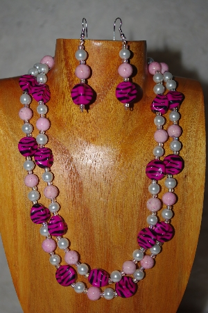 "MBADS #001-559  ""Pink & White Bead Double Strand Necklace & Earring Set"""