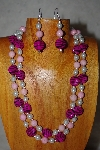 "+MBADS #001-559  ""Pink & White Bead Double Strand Necklace & Earring Set"""