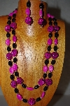 "+MBADS #001-581  ""Pink & Black Bead Double Strand Necklace & Earring Set"""