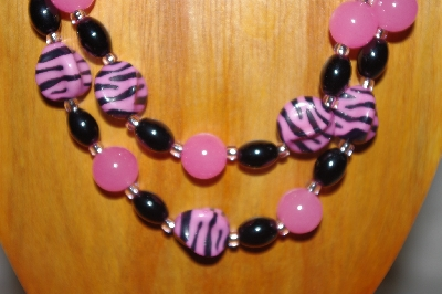 "MBADS #001-590  ""Pink & Black Bead Double Strand Necklace & Earring Set"""