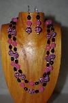 "+MBADS #001-590  ""Pink & Black Bead Double Strand Necklace & Earring Set"""